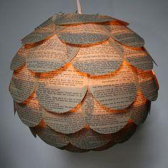 Book Pages pendant lantern by Allison Patrick