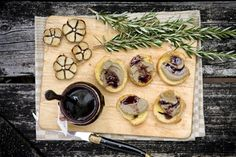 Toasted baguette with pate and grape jelly