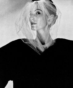 1954 Cristóbal Balenciaga's white tulle veil, photographed by Louise Dahl-Wolfe.