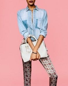 Keep your chambray top for spring and pair it with printed jeans.