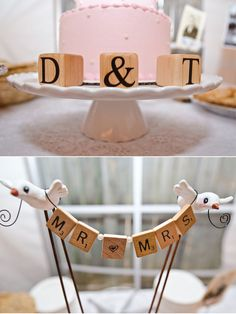 Adorable wooden letter cake toppers :: Charming Tennessee Wedding under $12,000--- some really cute stuff!