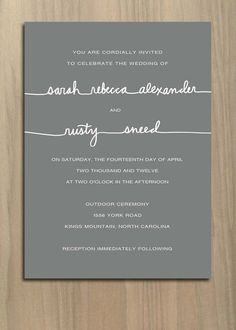 Simple, feminine, grey and white wedding invitation.
