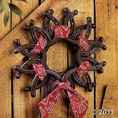 decor, idea, craft, barn, rustic furniture, horseshoes, horsesho wreath, christma, wreaths