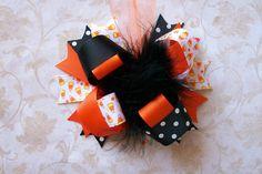 Halloween Hair Bow: black, white,  orange
