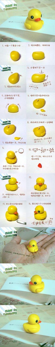 小黄鸭粘土教程