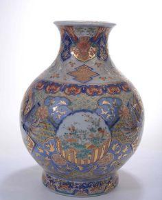 Japanese Imari Porcelain Vase Koi Fish & Crane