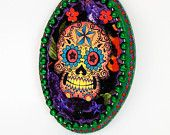 Day of the Dead Skull on wood plaque / purple green and red sugar skull/ Mexico Dia de los Muertos / ooak wall art home decor