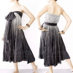 Cotton Maxi Ruffle Cotton Dress in Black  Gray by oOlives on Etsy, $44.00