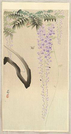 "Wisteria and Bee (c. 1930's)  by Koson Ohara (1877-1945) | Wood Block Print, 7.5"" x 14.6"""