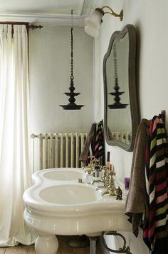 romantic bathroom with double sink