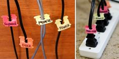 get organised with these bread tags as cord labels