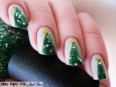 Party Nail Polish: Christmas Tree Nail Art For Short Nails - Glitter Christmas Nail... - Inspiring & lovely Nail Polish with Trendy Nail Polish,Cute Nail Polish,Christmas Nail Polish, Love it!