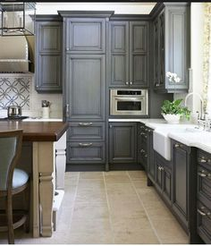 Grey Kitchen Cabinets - #kitchen #cabinets #home  ***My favorite cabinets so far, in Grey colors DMW