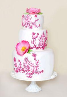 Vibrant Pink Henna Patterned Cake