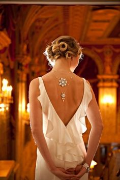 jewelry down the open back dress