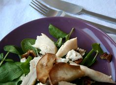 Roast chicken, grilled pear salad