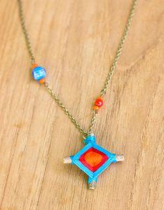 God's Eye Necklace - turquoise, red, orange. $16.00, via Etsy.