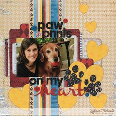 Juliana Michaels created this adorable layout using the new Happy Tails collection. Love how she used the Misc. Me journaling cards to back her photo. #Bobunny, @Juliana * * * * Michaels