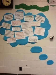 high school classroom decoration idea.  Great way to display student's opinions and reactions to things they are learning about!