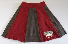 Sock monkey skirt from recycled sweaters!