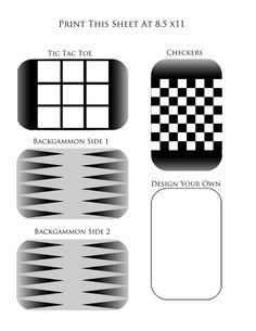 Printable templates for Altoids tin travel games.