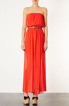 Topshop Red Chiffon Maxi Dress | Nordstrom