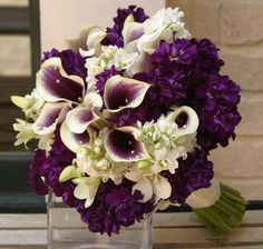 Purple and White Calla Lily, White Stock, White and Purple Hydrangea Bouquet