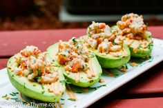 Crab meat and shrimp stuffed avocados, great appetizer.