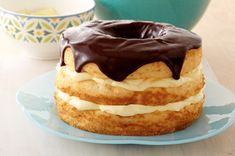 "Boston Cream Pie Made Over. I want to make this ""healthier"" dessert in place of my birthday cake."
