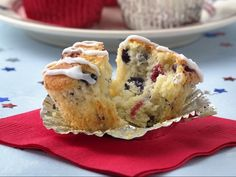 Red, White and Blueberry Muffins Recipe from Betty Crocker