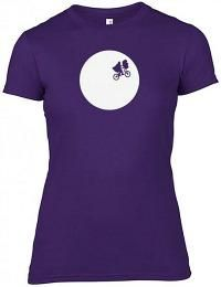 E.T. The Extra Terrestrial - bike scene T-shirt for ladies - purple, navy or black available