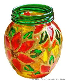 Stained Glass Jars. Great project for the kids. Draw on design with dry erase marker, then make it permanent with your puffy paint or school glue mixed with acrylic paint. Then after this dries paint glass paint or liquid glue (mod podge) dyed with food coloring into your design. This makes a great candle holder.