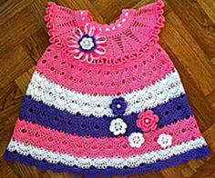 Crochet Colorful Shell -Pattern Dress with 3D Flowers, http://crochetjewel.com/?p=10768