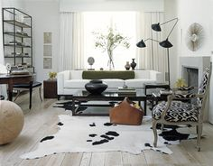 interior design, floor lamps, white living, living rooms, design interiors, cowhide rugs, hous, live room, light
