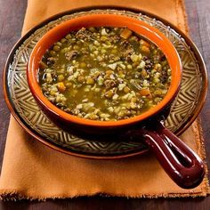 Lentil Soup Recipe with Ground Beef and Brown Rice; love this tummy-warming comforting soup! [from Kalyn's Kitchen] #GlutenFree #EasytoCook
