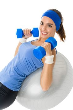 Young happy woman doing fitness exercise, isolated on white     Burn Fat With cardio traningets rely easy