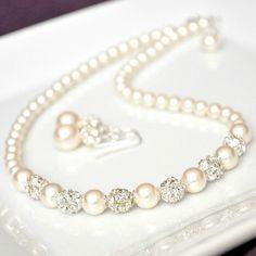 Bridal Jewelry Set Rhinestone Pearl Jewelry