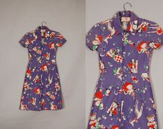vintage 1940s dress 40s day dress cotton novelty by pinkbanana3, $180.00