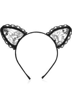 cats, heidi lace, ear headband, cat ear, lace cat, ears, michel heidi, headbands, maison michel