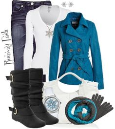 jacket, boot, fashion, style, color, blue, polyvore outfits, winter outfits, coat
