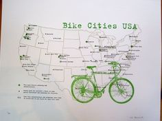 letterpressed map of the US' bike friendly cities