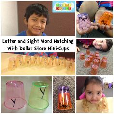 Alphabet & Sight Word Matching with Dollar Store Cups
