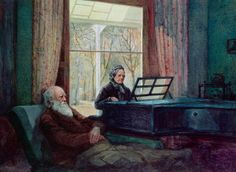 Charles Darwin and his wife at the Piano