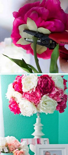 Love the colors...Quick Peony Lampshade - DIY Bedroom Decorating Ideas - Click for Tutorial