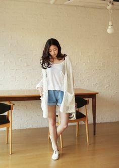 ivory white knit cardigan x white tshirt x denim shorts
