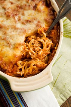 Paula Deen's Baked Spaghetti, better than regular spaghetti. We make and eat no other spaghetti any more. Yummy!