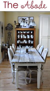love the look dining rooms, chair, dine room, farm house table, rustic table, farmhouse table, farm tables, farmhouse kitchens, dining tables