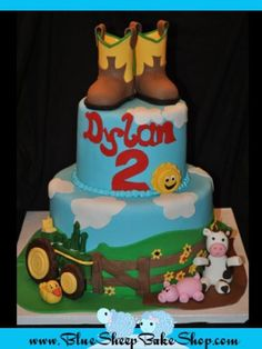 barnyard themed birthday cake