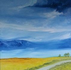 """Stormy Skies, Oil on canvas, 24"""" x 24"""" by: Mary Derrick"""