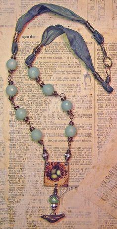 beads, birds and ribbons nina bagley, bird bead, diy fashion, color, silk ribbon, beads, ribbon necklaces, jewelri, christmas themes